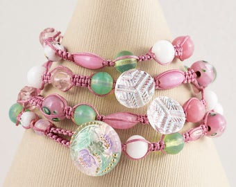 4 -Strand Macrame Wrapped Bracelet- (Chez Glass Button-Pink, White and Green Glass Beads)