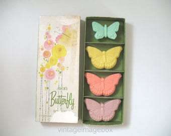 Vintage Avon Butterfly Soap Set with box, old novelty toiletries