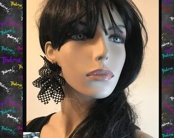 Lace earrings,Net earrings,handmade earrings,sparkle earrings,bling earrings,black and gold,statement earrings