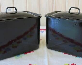 Vintage Black Medical Enamelware Boxes, Black Porcelain Enamelware, 2 Piece Porcelain Enamelware Boxes, Black Enamelware Canisters w/Lids