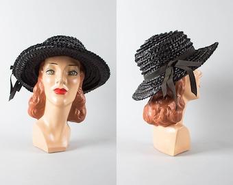 Vintage 1960s Sun Hat   60s Black Woven Raffia Wide Brim Summer Hat