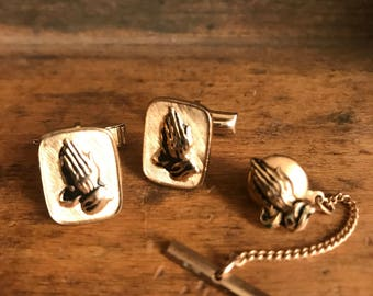 Gold Tone Praying Jesus Hands Cuff Links And Tie Pin Set