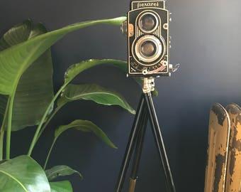 Antique Telescopic  Rea Camera Tripod 4' Tall With original Sleeve Cover