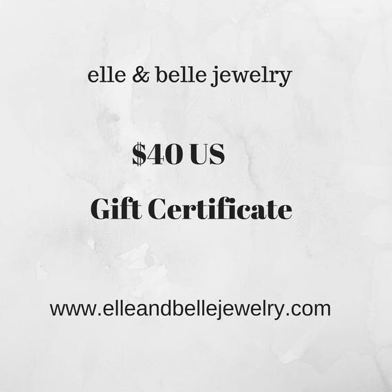 JewelryvGift Certificate Redeemable at elle & belle jewelry, Gift for Her, Birthday Gift, Christmas Gift, Gift Card, Mom Gift, Womens Gift