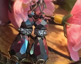 Chandelier drop gray shimmer crystal earrings.  Marcasite tone. Filigree