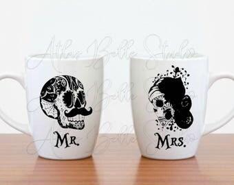 Sugar Skull Mr. Mrs. Mug Set Bride Groom gift set his and hers mugs coffee tea lovers