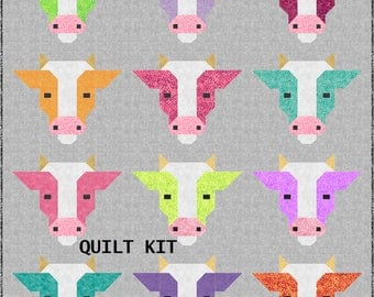 DIY Farm Friends COWS Quilt Kit and Pattern, Bedding Crib Blanket Quilting Patchwork Project Baby Quilt Kit Toddler Kit farm animal cow