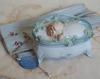 Antique  Art Nouveau Floral Jewelry Box - Pink  Roses - Hand Painted Silk  Blue Velvet Lining  - Treasure Trinket Casket -  Repousse Rose