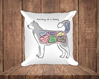 Anatomy of a Husky - Funny Siberian Husky Square Pillow