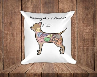 Anatomy of a Chihuahua - Funny Chihuahua Dog Square Pillow