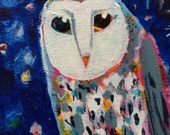 Wise Owl  Original acrylic painting