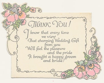 Wedding Gift Thank You Card - Floral, c. 1940