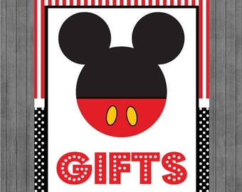 FLASH SALE Mickey Mouse Birthday Sign, Gift Sign, Red, Black