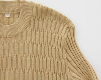 Vintage Ribbed Sweater // Fitted Beige Knit Top // 60's 70's  Sweater