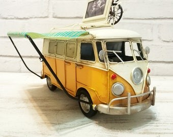 Fast Shipping-VW Yellow Camper Van with Striped Tilt-Vintage Design-Tin Volkswagen Gift for Friend-Housewarming Gift-Money Box-Picture Frame