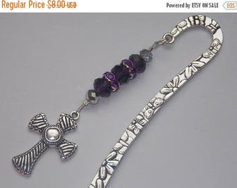 15%OFF Purple Czech and Purple Crystal encrusted SilverPlated Beaded Silver Tibetan Silver Cross Bookmark