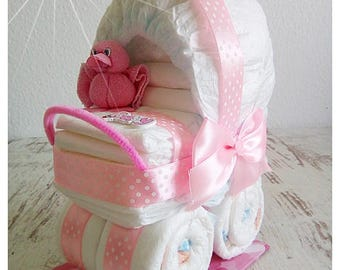 Pram stroller out of diapers pink duck
