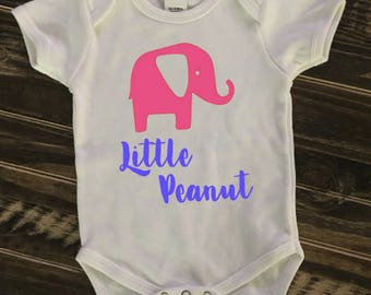Little Peanut Baby Elephant Onesie, Creeper, Bodysuit |  personalized gift |baby shower sign in