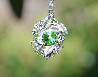 ON SALE Green swarovski silver pendant Necklace - Valentines Necklace - birthday present