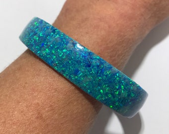 Stabilized Solid Blue Created Opal Bangle Bracelet, Synthetic Opal