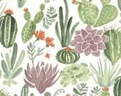 Dry Garden, Journey, Monaluna, Organic Lawn, organic fabric by the yard, cactus, organic, fabric by the yard, geometric fabric
