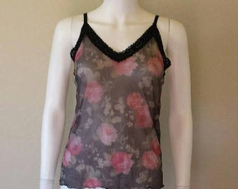 ON SALE 90s sheer mesh floral print camisole tank top