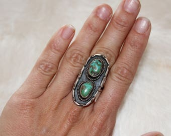 Vintage 2 stone turquoise ring // southwest turquoise ring // old pawn jewelry