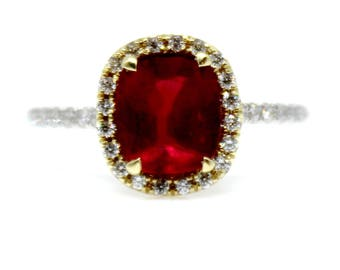 Sparkly 2 carat Mozambique Ruby and diamond ring 18k White and Yellow Gold Gemstone Engagement
