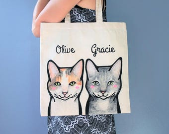 Personalized Pet Tote Bag. Cat Portraits. Custom Cat Portraits. Custom Illustration. Custom Pet Portraits.