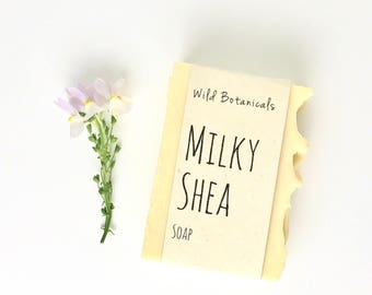 Milky Shea Soap, Organic, All Natural, Scented, Vegan, Handmade, Cold Process Soap, Wildflower Seed Paper