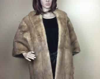 Sale Vintage  Mink  Stole, Long  Mink Fur  Stole, Valentines Gift ,  Mink Cape MinkShawl Real Fur Mink bolero mink fur cap 60s Wedding