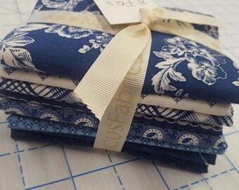 8 Marcus Faye Burgos Gallery in Blue Floral Patriotic American QOV Fabric Fat Quarters
