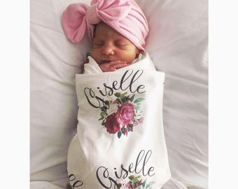 Personalized purple floral swaddle blanket: baby and toddler personalized name newborn hospital gift baby shower gift