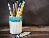 turquoise handmade pencil pot, striped porcelain and satin glaze