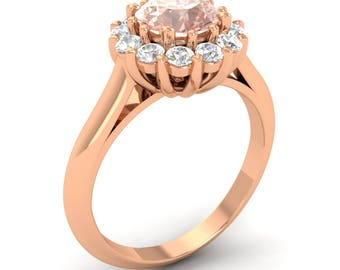 Natural AAA Morganite Engagement Ring With Diamond 14K Gold | Halo Engagement Ring | Morganite Rose Gold | Certified Morganite Ring