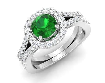 Halo Engagement Ring | Round AAA Emerald Engagement Ring With Diamond 14K Gold | Natural Emerald Ring | Gift For Women | Anniversary Gift