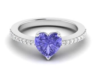 Tanzanite Ring, 14K White Gold, Heart Shape Ring, Blue Gemstone Ring, December Birthstone Ring,Anniversary/Wedding Ring, Side Stone Ring