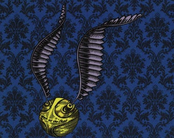 Golden Snitch: Harry Potter fabric print