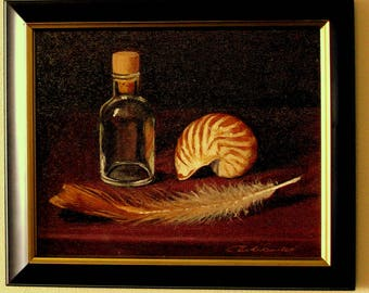 Nautilus with bottle and feather