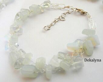 Bracelet white Moonstone wire crochet bracelet made in France