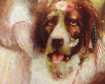 Vintage Saint Bernard little girl patriotic dog postcard