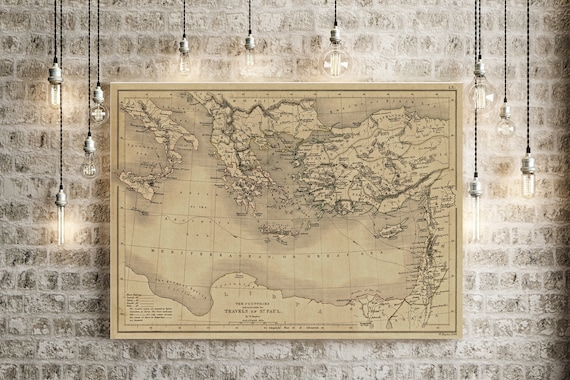 Biblical Map 1847 Map of Saint Paul Travels Biblical Region Antique Restoration Hardware Style Christian Wall Map Vintage Map Home Gift Idea