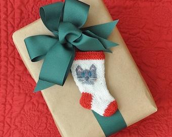 Grey Cat Christmas Stocking Ornament  Hand Knit Stocking Ornament