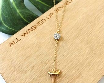 New! // Druzy Shark Tooth Lariat Necklace Gold Fill