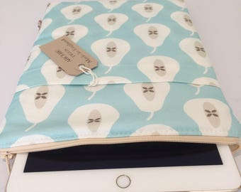 ipad Air 2 scratch cover - White and blue pear retro  fabric
