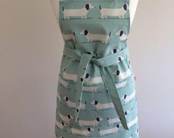 Adults apron - Sausage Dog Dachshund Print - Aqua Blue