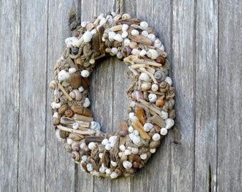 11'' Driftwood wreath Driftwood art Home decor Beach Nautical seashells linen knots