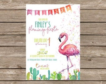 Flamingo Cactus Fiesta Birthday Invitation