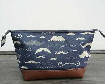 Moustache Wash Bag - made to order