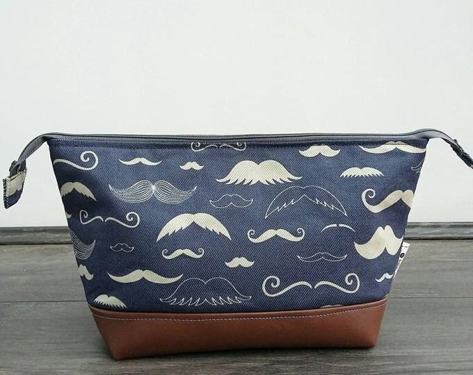 Moustache Wash Bag - made to order
